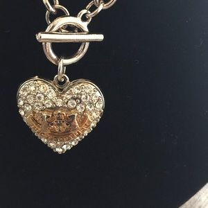 Juicy Couture pave locket toggle necklace
